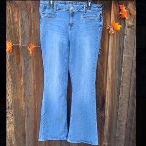 Eddie Bauer Slightly Curvy Flare light wash jeans